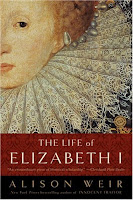 A color photo of the front cover of 'The Life of Elizabeth I' aka 'Elizabeth the Queen' by Alison Weir.