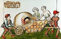 color photo of a contemporary print of Medieval baking