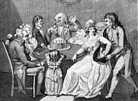 Regency era upper middle class Twelfth Night party 1794 black and white print by Isaac Cruikshank