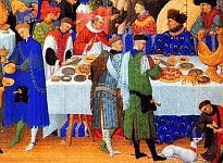 color photo of a detail from a painting of Medieval feasting