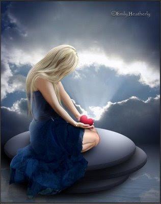 amor,menina,coração na mão,nuvens,luz