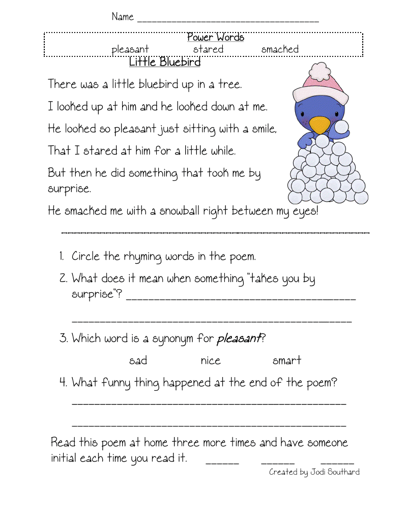 Worksheets Reading Comprehension Worksheets Pdf fluency comprehension and vocabulary fun in first vocabulary