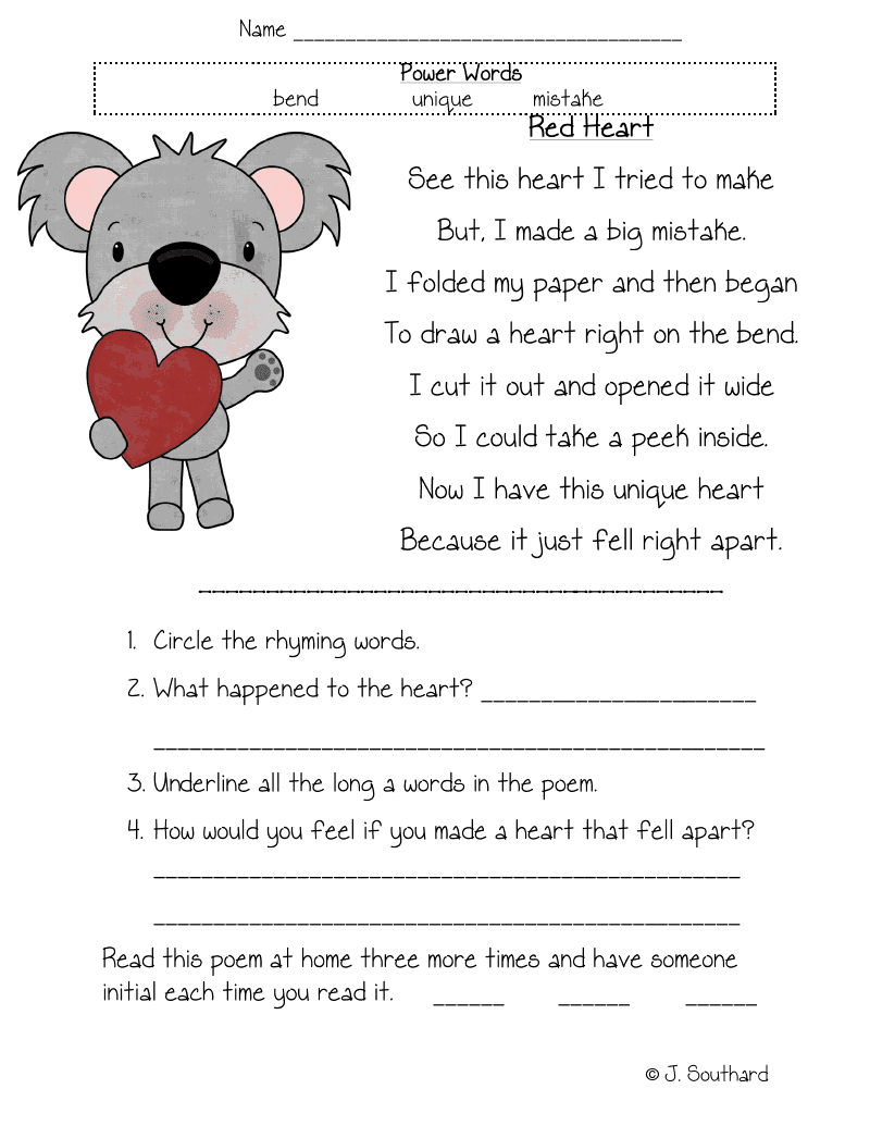 Worksheet Reading Comprehension Passages For First Grade february 2011 ...