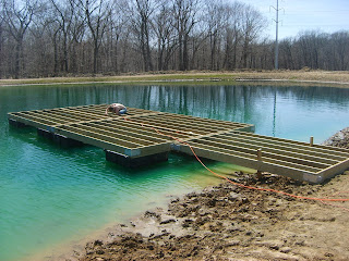 Herman brothers blog building a floating dock pictures for Pond pier plans