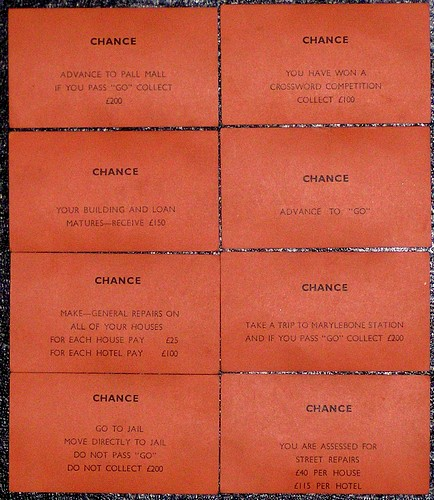design context: chance cards are traditionally red/orange