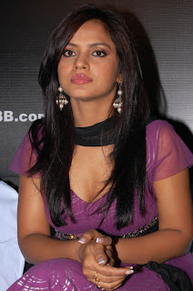 Neetu Chandra spotted in a lovely Purple Gown at a Page 3 party