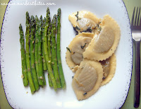 Mushroom Ravioli with Garlic-Sage Brown Butter and Asparagus