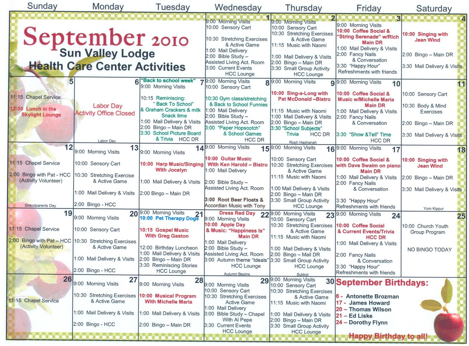 September Skilled Nursing Activities Welcome To Sun Valley Lodge