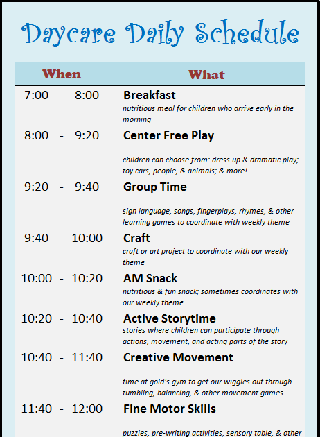 learning zone  daycare schedule