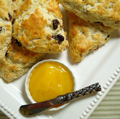 Warm Cherry-Walnut Scones with Lemon Curd