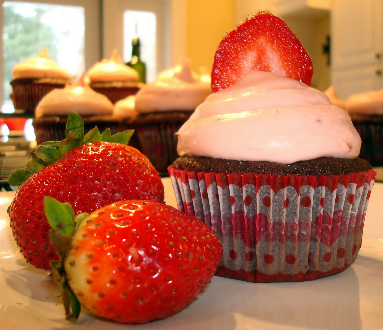 Chocolate Buttermilk Cupcakes with Strawberry Cream Frosting