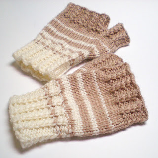 knitted beige and white wool silk fingerless gloves with cables