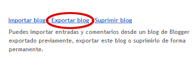 Exportar blog en Blogger