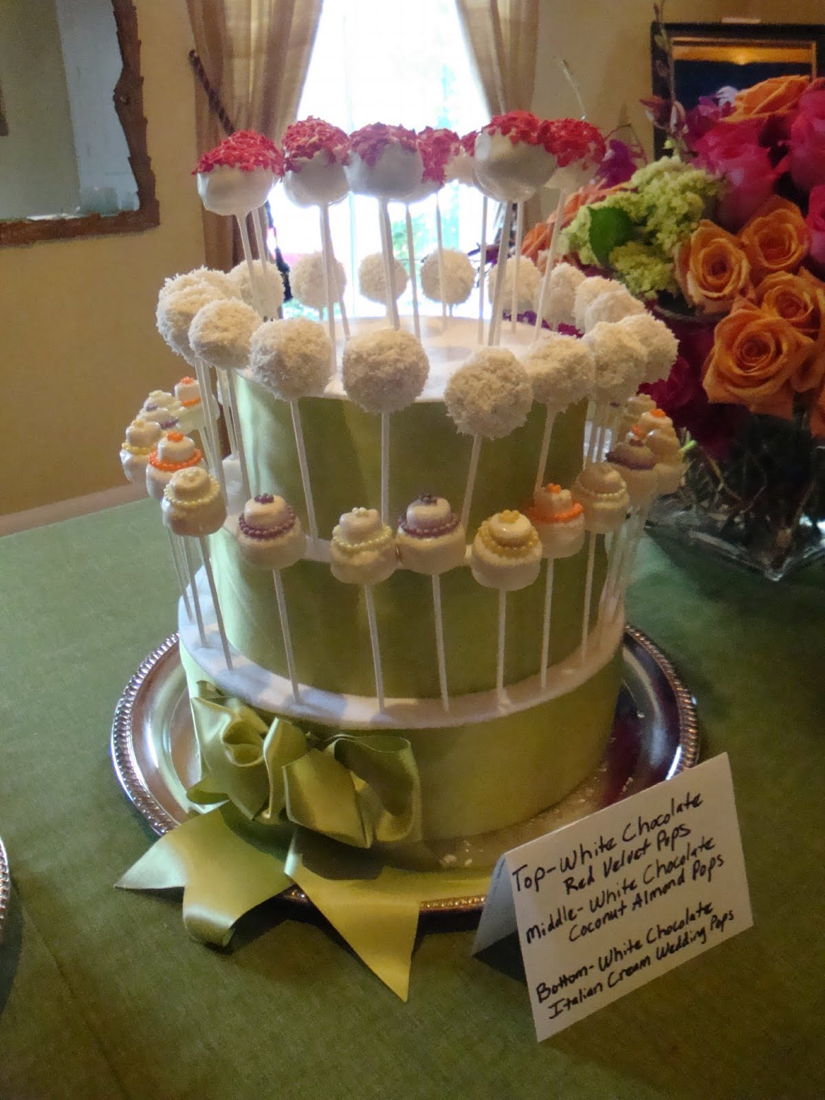 Sweet thang39s confections bridal shower wedding cake pops for Cakes for wedding showers