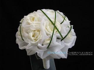 теория флористики, мастер-класс, свадебный букет в ткани