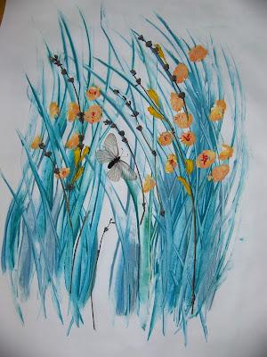 коллажи, теория флористики, техника клей-краски