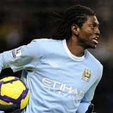 Emmanuel Adebayor in Manchester City jersey