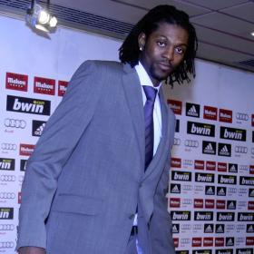 Emmanuel Adebayor at press conference as new Real Madrid player