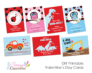 Printable Valentine's day cards for children from Sassy Photo Creations