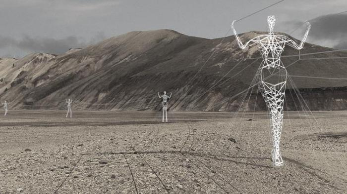 Human pylons carry electricity in Iceland: 04