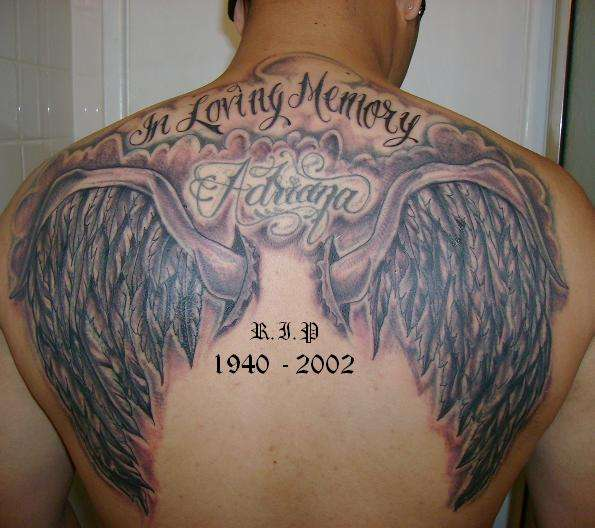 An angel wing tattoo is a pair of wings, often tattooed on the back,