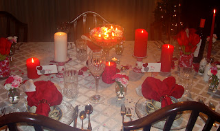 Detail of candles on a dining room table