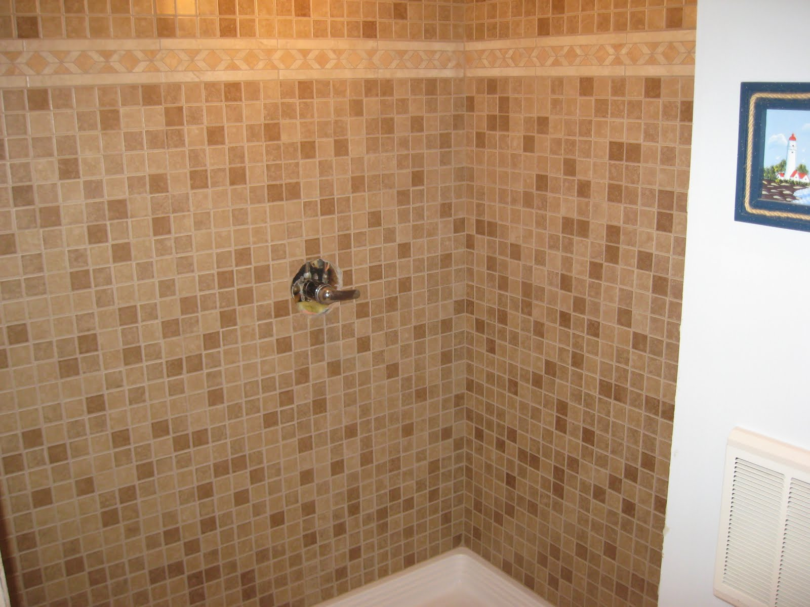 Big kraut construction mosaic tile shower Mosaic tile designs for shower