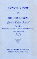 1974 Westinghouse Science Talent Search Honors Group booklet cover