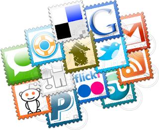 icone, sociali, francobolli