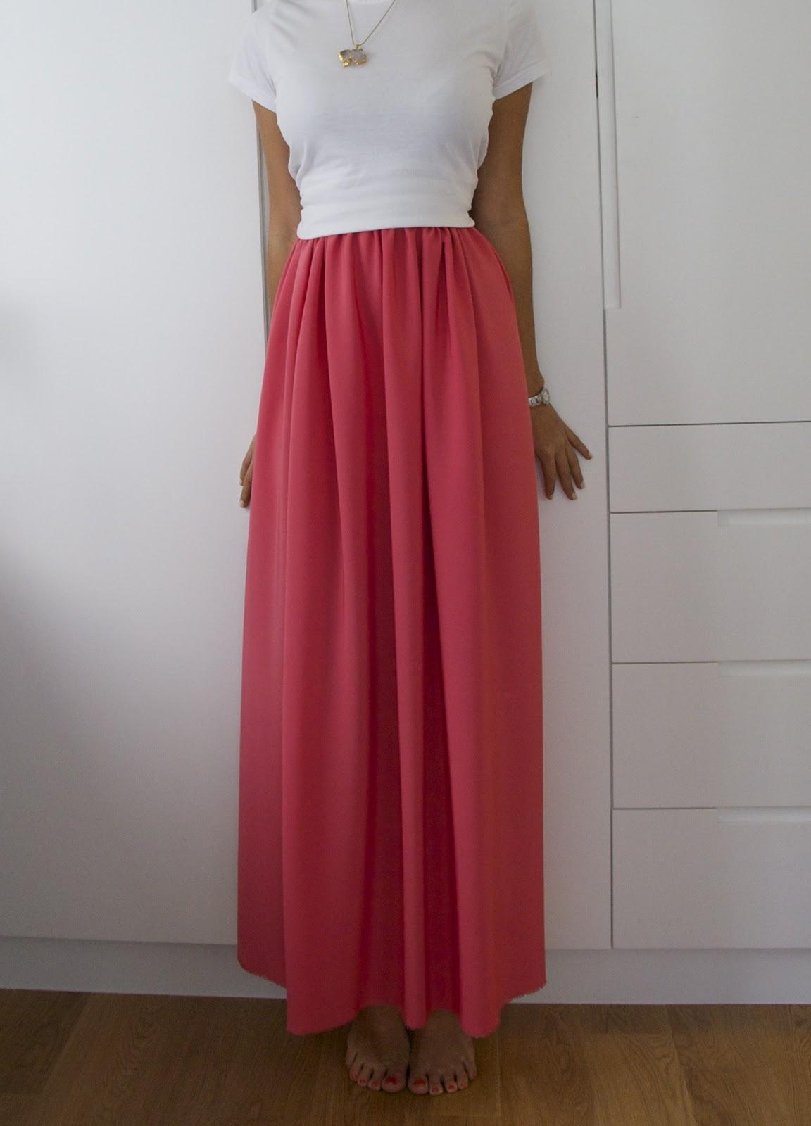 diy weekly jil sander inspired bright pink maxi skirt