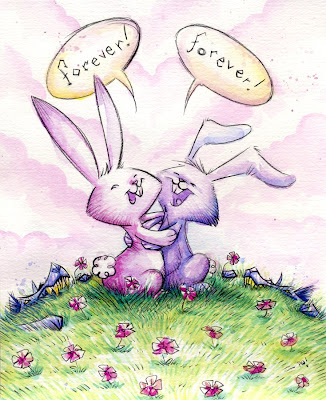bunnies in love. The magic of first love is our