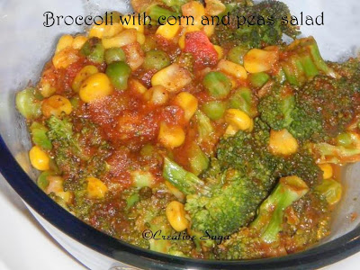 broccoli with corn and peas salad