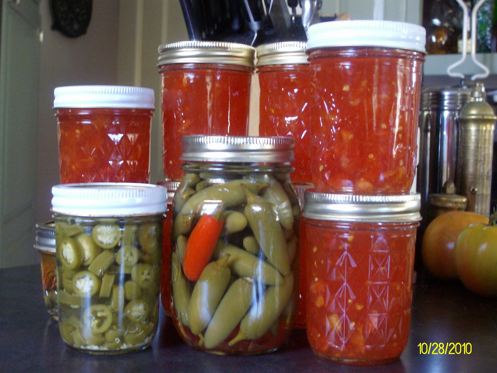 Pickled Jalapeno & Serrano Peppers and Red Tomato Jam.