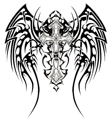 cross wings tattoo. cross with wings tattoos.