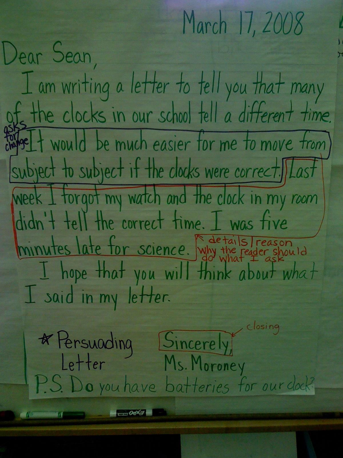 Persuasive Letter Example 5th Grade