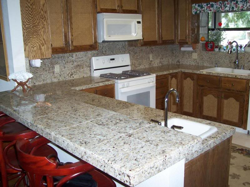 Use granite tile to create the look of a stone slab or solid
