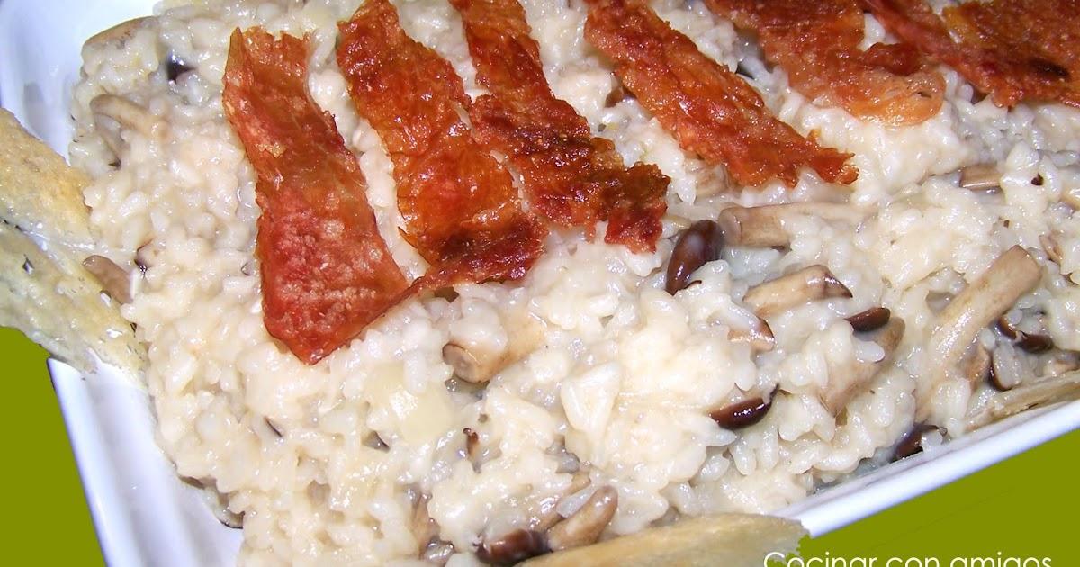 Risotto de setas y parmesano con crujiente de ib rico for Como cocinar risotto de setas