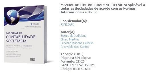 BLOGABILIDADE: Novo Manual de Contabilidade Societária