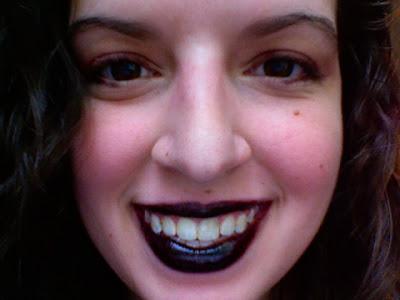 glossy black lipstick