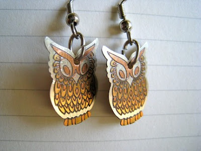 fire owl earrings from etsy