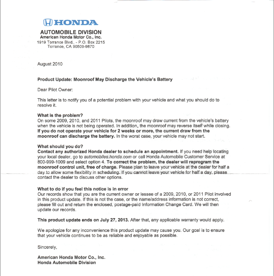 Problems With My New Honda Recall Letter