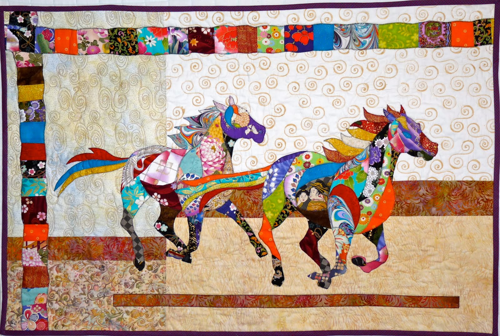 Japanese Horse Quilt For Chelsea Complete Feeling Simply Quilty
