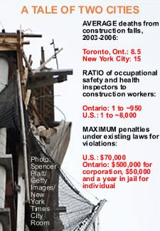 Click image for a detailed chart comparing construction safety regulations in Toronto and New York City.