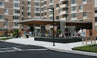 The brand spanking new plaza at Van Ness East condominiums.