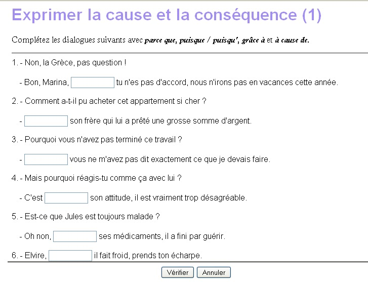 Le journal de fran ais deux exercices sur la cause - Le journal de francois ...