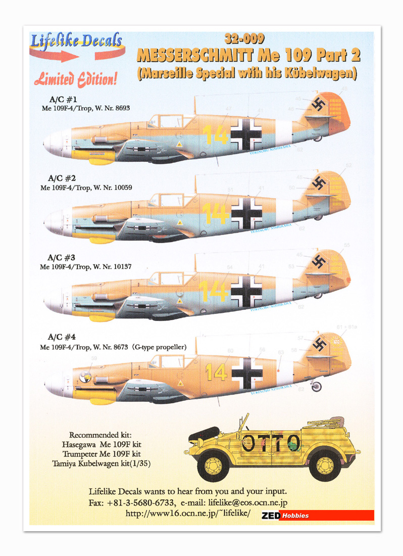 1/32 Messerschmitt Bf-109 decals Product Articles Archives Page 1