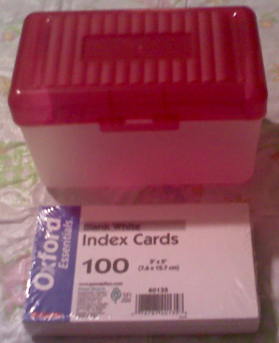 Coupon index cards