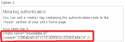meta tag verification to bing serch engine image