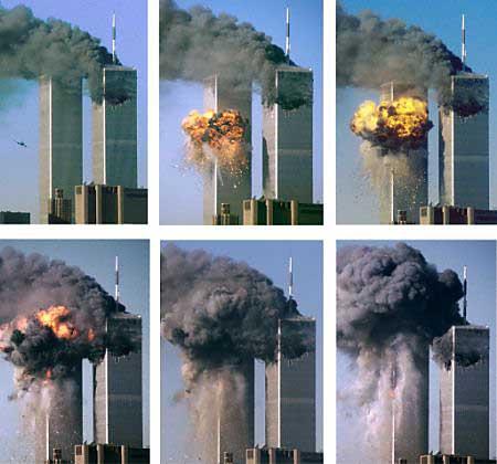 Seqüência de imagens do ataque às Torres Gêmeas