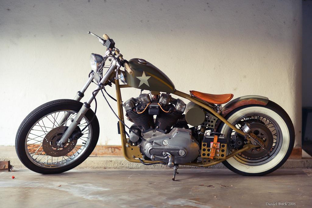 old school chopper motorbike